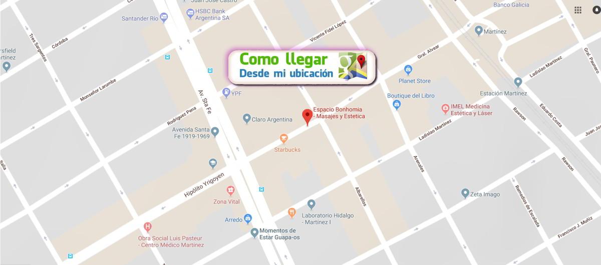 Ubicacion en Mapa de Google o Waze de Espacio Bonhomia en Martinez, Masajes, descontracturante, relajante, drenaje, tratamientos faciales.